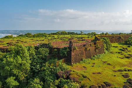 aerial view of chapora fort goa