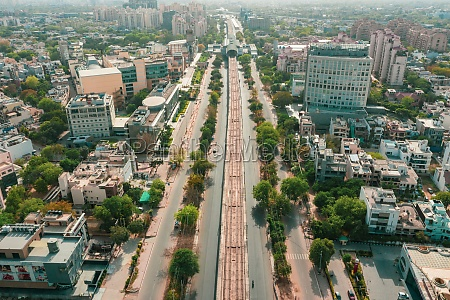 aerial view of an empty highway