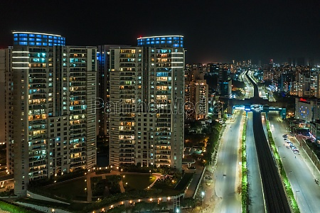 aerial view of tall skyscraper in