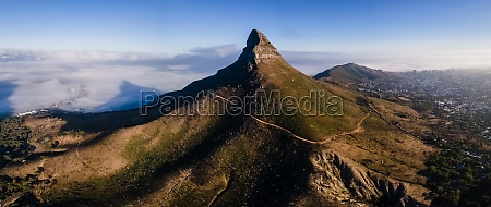 panoramic aerial view of lions head