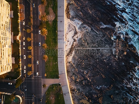 aerial view of beach road in