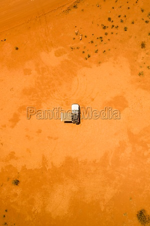 aerial view of two people camping