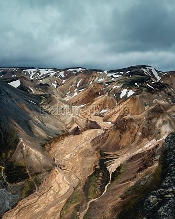 aerial panoramic view of volcanic icelandic