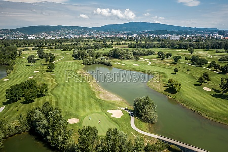 aerial view of golf course in