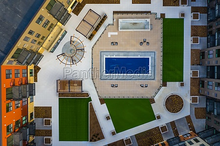 aerial view of a geometric residential