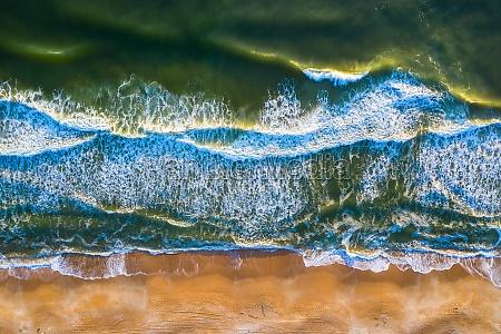 aerial view of crispy waves of