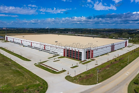 aerial view of a big warehouse