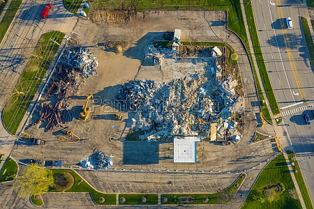 aerial view of demolition center with