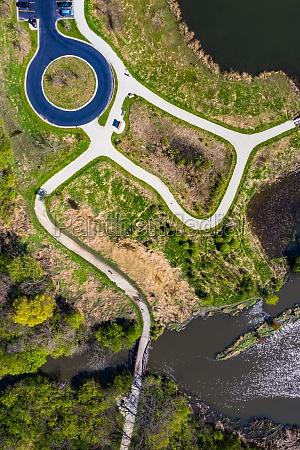 aerial view of a footpath along