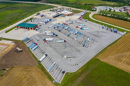 aerial view of a huge parking