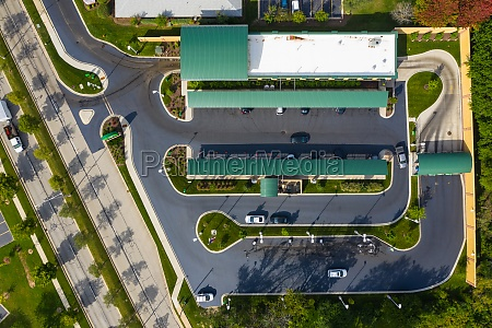 aerial view of a car wash