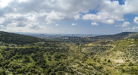 aerial view of hills landscape with