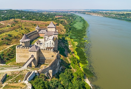 aerial view of khotyn fortress and