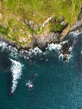 abstract aerial view of steep cliff