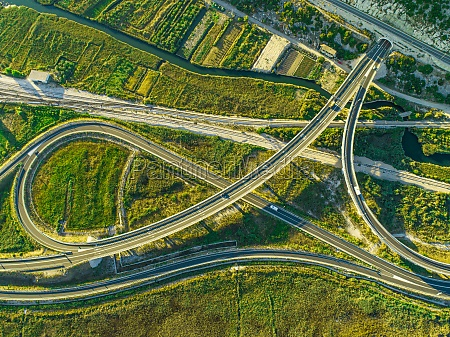 aerial view of interchange near the