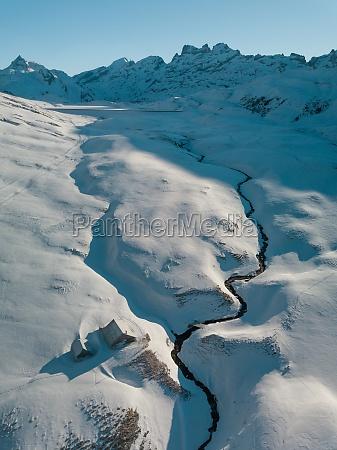 aerial view of swiss ski resort