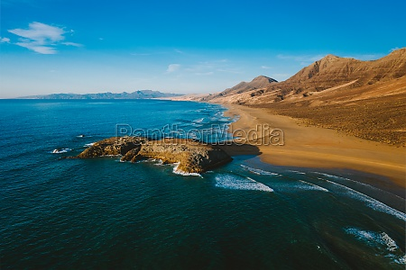 aerial view of wild cofete beach