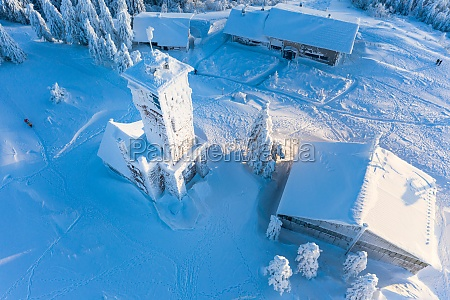 aerial view of a snowcovered tower