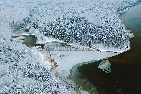 aerial view of frozen bay during