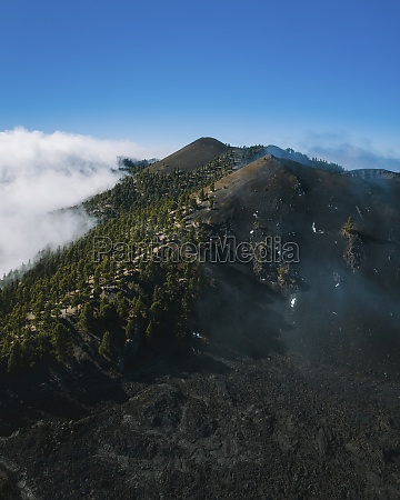 aerial view of volcanic landscape near