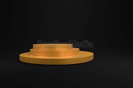 golden podium on a dark background