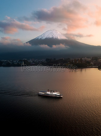 aerial view of mount fuji and