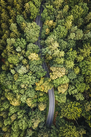 abstract aerial view of road trough