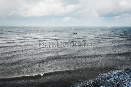 aerial view of fishing boats on