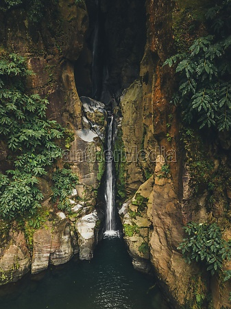 aerial view of waterfall in the