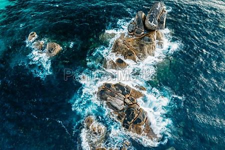 aerial view of water splashing on