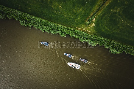 aerial view of solar panel boats