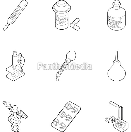 medicine icons set outline style