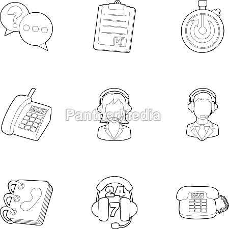 consultation icons set outline style