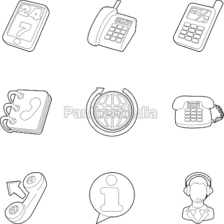support icons set outline style
