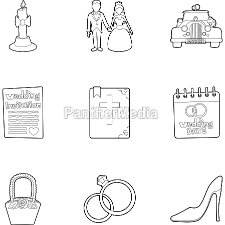 marriage icons set outline style