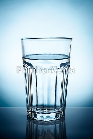 transparent glass filled of pure water