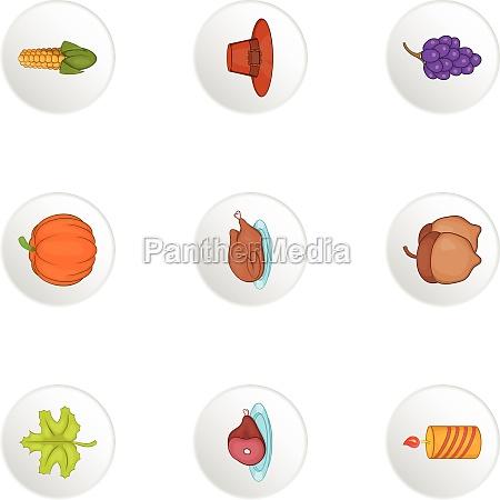 autumn festival icons set cartoon style