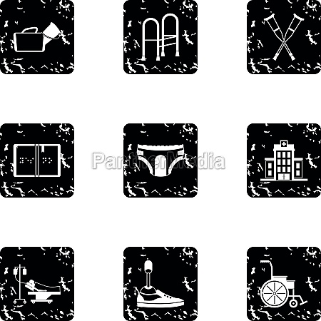 disabled icons set grunge style