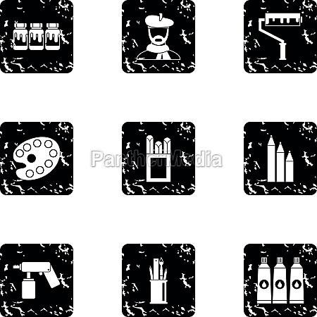 art icons set grunge style