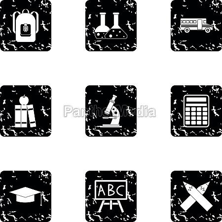 schooling icons set grunge style