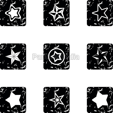 star icons set grunge style