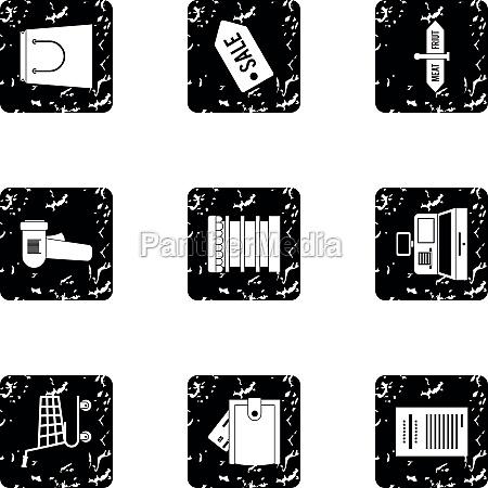 shop icons set grunge style