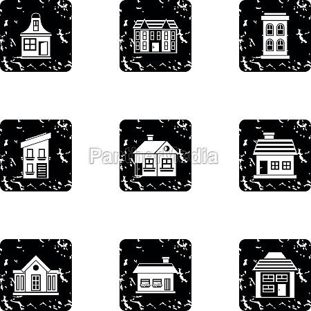 habitation icons set grunge style