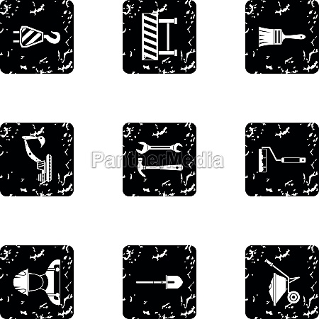 repair icons set grunge style