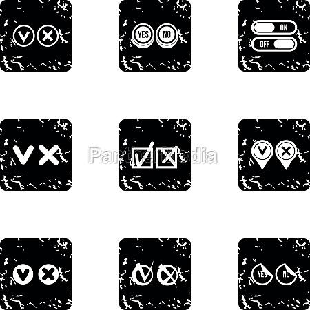 tick icons set grunge style