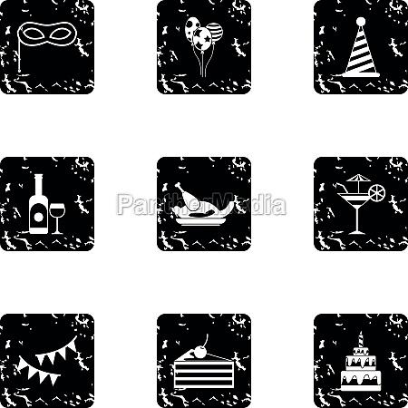 holiday icons set grunge style