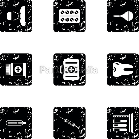 doctoral icons set grunge style