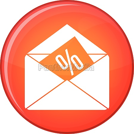 envelope with percentage icon flat style