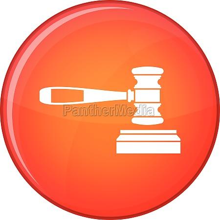 judge gavel icon flat style