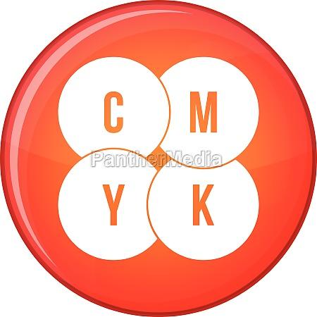 cmyk circles icon flat style